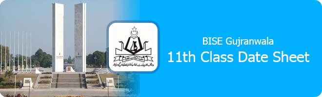 1st Year Date Sheet 2021 Gujranwala Board
