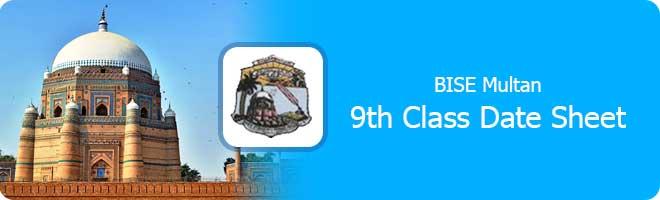 9th Class Date Sheet 2021 Multan board